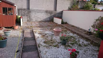 Garden Transformation Buff Slabs & Flamingo Gravel