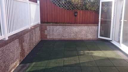 Green Soft Slabs & White Balcony Fence - After