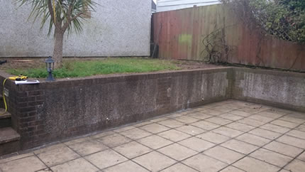 Green Soft Slabs & White Balcony Fence - Before